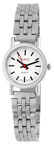 Bahnhof mit Metallarmband Armbanduhr Uhr Weiss 100422100136