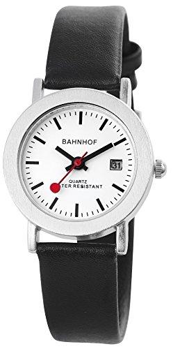 Bahnhof Weiss Silber Schwarz Analog Leder Datum Armbanduhr Eisenbahn Uhr