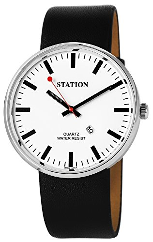 Bahnhof Herrenuhr Armbanduhr Eisenbahn Uhr Weiss Silber Analog Leder Datum Station
