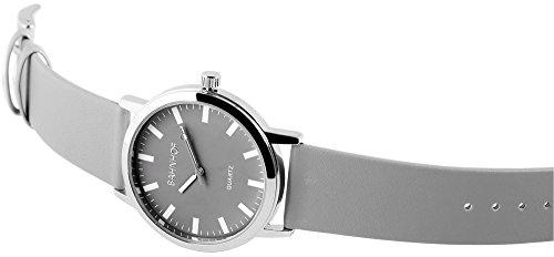 Bahnhof Grau Silber Analog Metall Leder Armbanduhr Mode Quarz Uhr