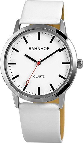Bahnhof Weiss Silber Analog Metall Lederimitationsarmband Armbanduhr Quarz
