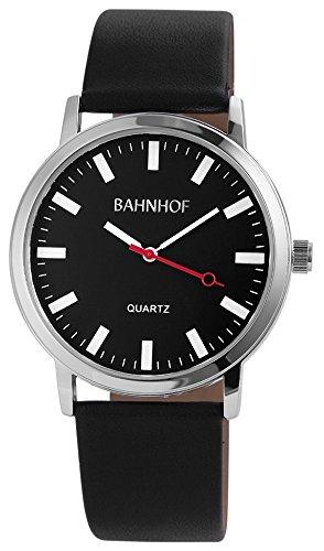 Herren Quartz Watch Schwarz Bahnhofsuhr klassische Pu Leder Armbanduhr