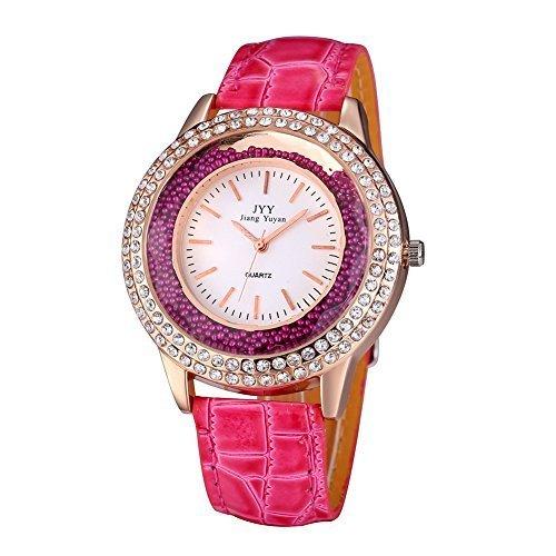 jiangyuyan frauen rosa rose gold fall quarzuhren mit lila pu lederband und gl ck rollen b lle 274303