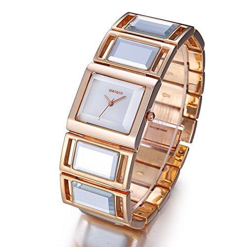 JIANGYUYAN Luxus Hardlex Spiegel Buegel Frauen Armband Uhren Bunte Shell Square Dial Fashion Uhr Dame Armbanduhr Rosegold