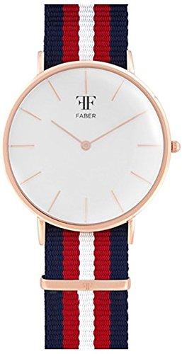 Faber No 1 Series F705RG Armbanduhr Rosegold Unisex Nato Strap Blau Rot Weiss