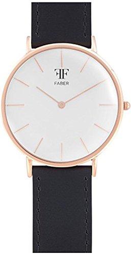 Faber No 1 Series F706RG Armbanduhr Rosegold Unisex Leder Schwarz