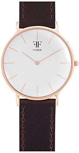 Faber No 1 Series F708RG Armbanduhr Rosegold Unisex Leder Dunkelbraun