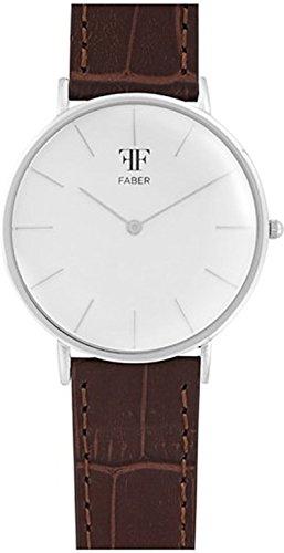 Faber No 1 Series F808RG Armbanduhr Silber Unisex Leder Braun Croco