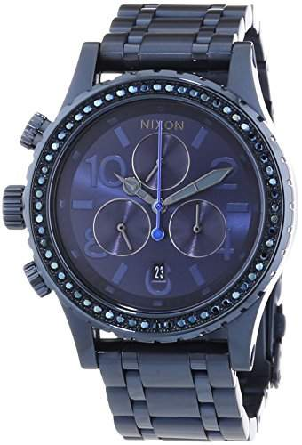 Nixon Damen-Armbanduhr 38-20 Chrono All Deep Blue Crystal Chronograph Quarz Edelstahl A4041880-00