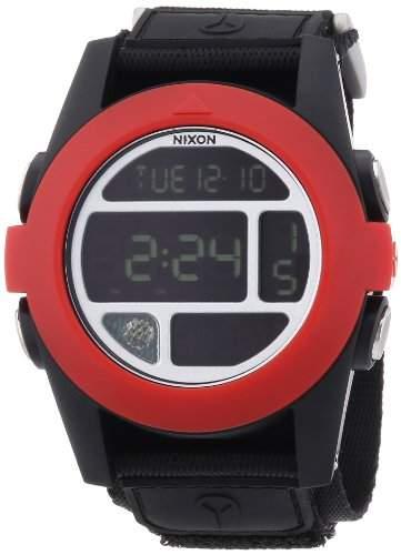 Nixon Herren-Armbanduhr XL Baja All Black  Red Digital Quarz Nylon A4891760-00