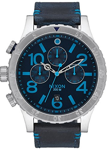 NIXON CHRONO LEATHER Leder Uhr Blue Man Chronograph A3632219