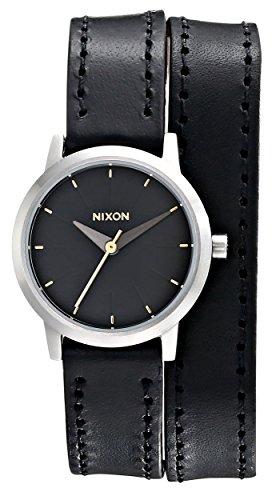 Nixon Damen Armbanduhr 26mm Armband Leder Schwarz Gehaeuse Edelstahl Quarz Analog A403000