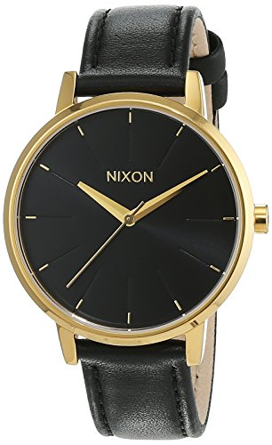 Nixon Kensington Leather Gold Black Analog Quarz Leder A108513 00