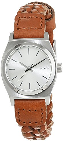 Nixon Small Time Teller Leather Saddle Woven Analog Quarz Leder A5092082 00