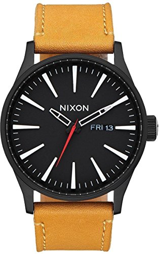 Nixon Sentry Leather All Black Goldenrod A105 2448