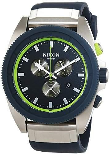 Nixon Unisex-Armbanduhr Rover Midnight Blue  Volt Green Analog Quarz Silikon A2901981-00