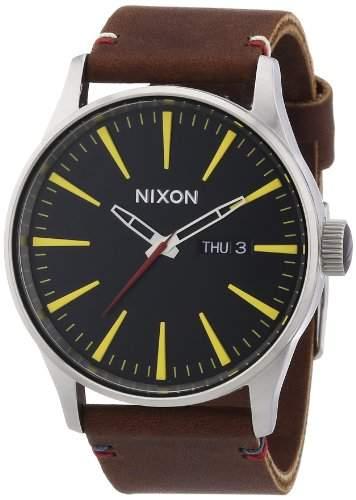 Nixon Herren-Armbanduhr XL Sentry Leather Black  Brown Analog Quarz Leder A105019-00