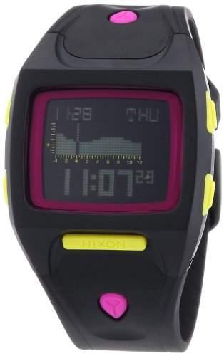 Nixon Unisex-Armbanduhr The Small Lodown All Black  Neon Pop Chronograph Quarz Plastik A4981322-00
