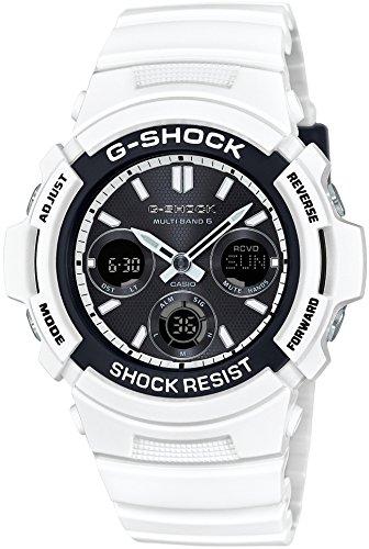 CASIO Armbanduhr G STOss Weisses und Schwarzes Reihe Radio das entsprechend 6 Welten AWG M100SBW 7AJF Maenner Sonnen ist
