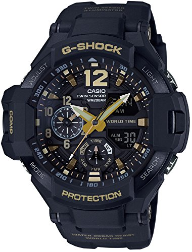CASIO G SHOCK MASTER OF G Vintage Black Gold GRAVITYMASTER GA 1100GB 1AJF MENS