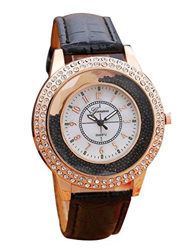 Quarz Kleid Uhr Damen Luxus Leder Analog Kristall Beilaeufige Armbanduhr schwarz