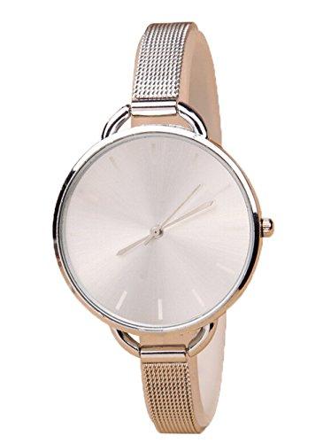 Luxus Damen Kleid Armbanduhr Masche Mini Armband Quarz Uhren Analog silber