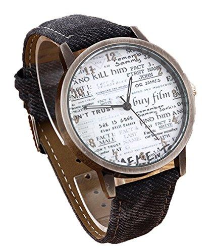 Retro Damen Herren Beilaeufige Uhr Zeitung Quarz Analoge Armbanduhr schwarz