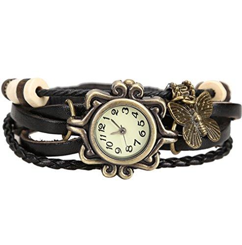 Damen Retro Quarz Armbanduhr Schmetterling Leder Weben Uhren Lederarmband Schwarz