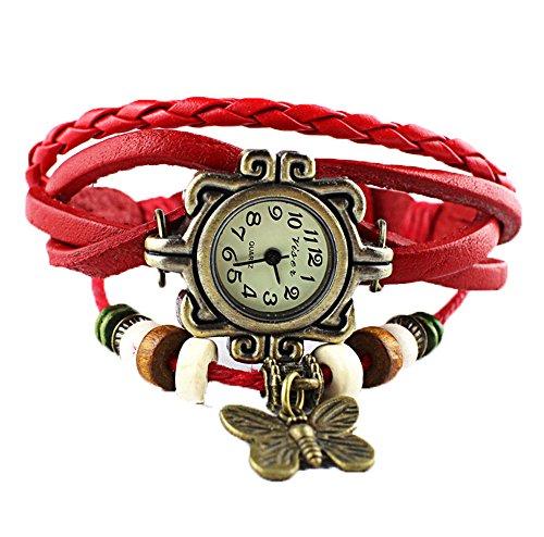 Damen Retro Schmetterling Leder Weben Uhren Lederarmband rot