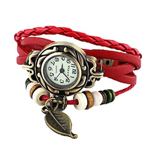 Damen Retro Quarz Uhr Blatt Leder Armbanduhr Kleid Uhren rot