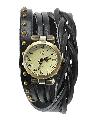 Damen Leder Kleid Uhren Niet Wickeln Quarz Lederarmband Armbanduhr schwarz