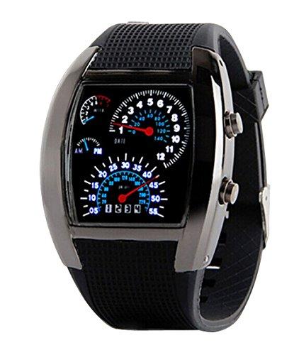 Herren Sport Uhren Digital LED Militaer Armbanduhr Silikon Buegel schwarz