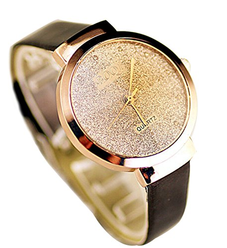 Elegante Damen Leder Uhren Damen Freizeit Quarz Analoge Armbanduhr schwarz