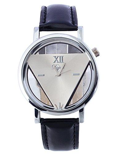 Elegantes Triangle Leder Uhr Damen Analog Quarz Armbanduhr schwarz