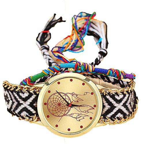 Mode Geflochtenes Armband Damen Uhr Weben Wickeln Uhren Analog Quarzt Armbanduhr