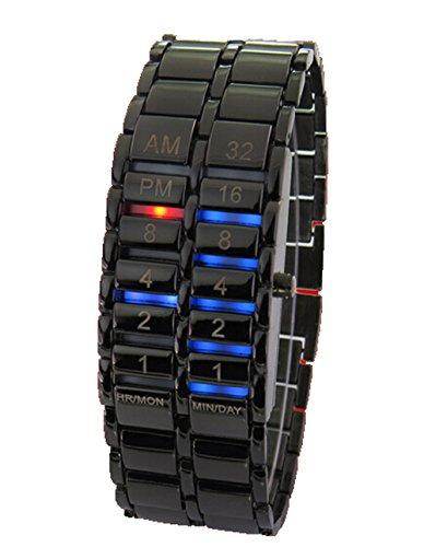 Herren Lava Eisen Stahl Armband Digital Uhren Binary LED Anzeige Armbanduhr