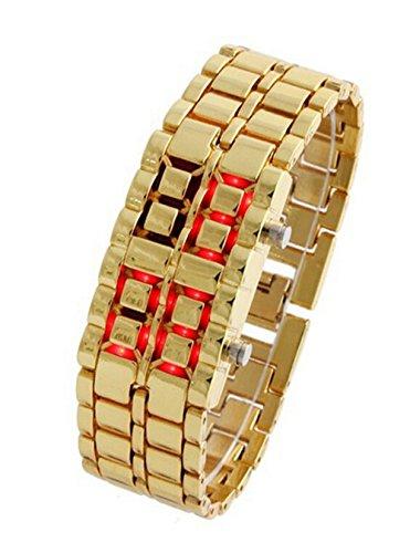 Damen Herren Uhren Armband LED Lava Eisen Samurai Metall Armbanduhr Gold