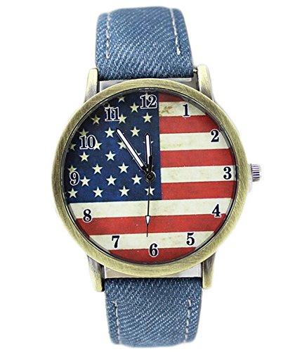 Retro Damen Herren Beilaeufige Uhren Flagge Analog Denim blau