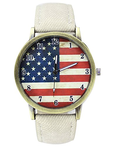 Retro Damen Herren Beilaeufige Uhren Flagge Analog Denim Quarz Armbanduhr weiss