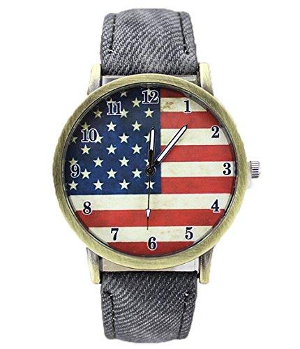 Retro Damen Herren Beilaeufige Uhren Flagge Analog Denim Quarz Armbanduhr schwarz