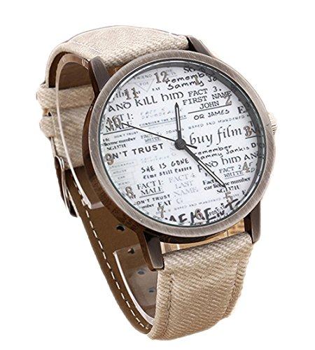 Retro Damen Herren Beilaeufige Uhr Zeitung Quarz Analoge Armbanduhr weiss