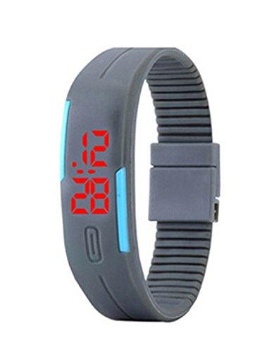 Herren Damen Silikon LED Digital Uhren Sport Gelee Armbanduhr grau