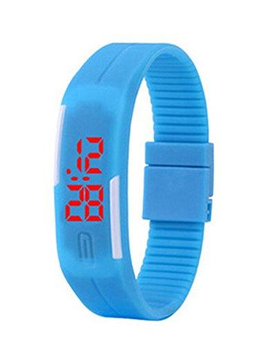 Herren Damen Silikon LED Digital Uhren Sport Gelee Armbanduhr blau