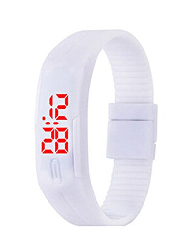 Herren Damen Silikon LED Digital Uhren Sport Gelee Armbanduhr weiss