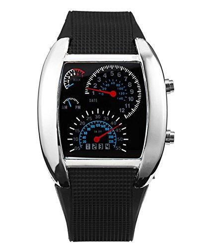 Herren Sport Uhren Digital LED Militaer Armbanduhr Silikon Buegel Silber