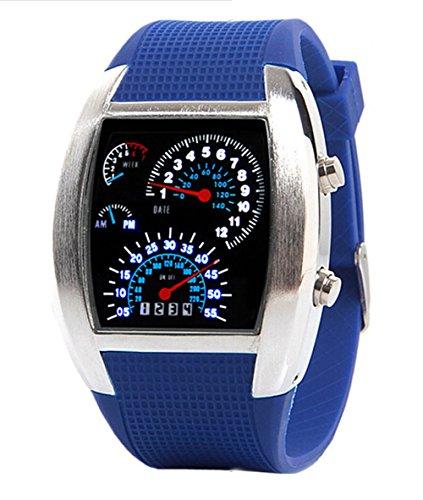 Herren Sport Uhren Digital LED Militaer Armbanduhr Silikon Buegel blau