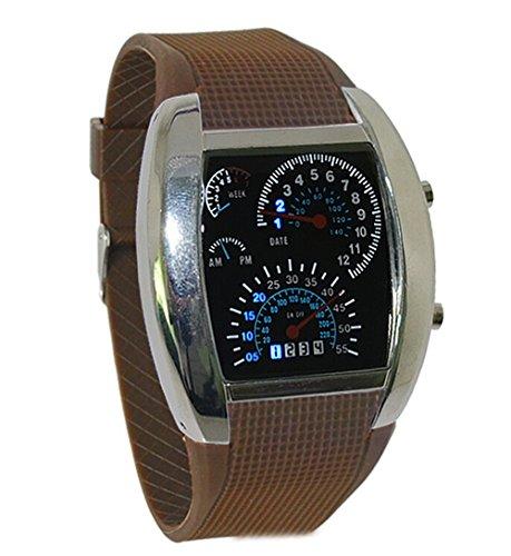 Herren Sport Uhren Digital LED Militaer Armbanduhr Silikon Buegel Brown