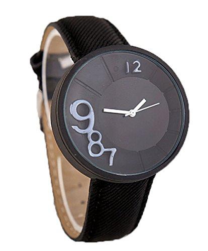 Mode Damen Herren Lampenschirm Muster Uhr Denim Quarz Analoge Armbanduhr schwarz