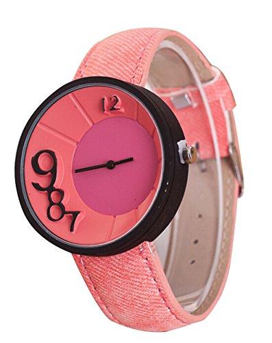 Mode Damen Herren Lampenschirm Muster Uhr Denim Quarz Analoge Armbanduhr pink
