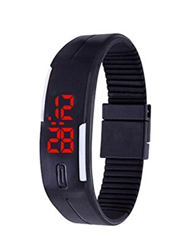 Herren Damen Silikon LED Digital Uhren Sport Gelee Armbanduhr schwarz
